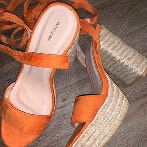 PrettyLittleThing orange platform espadrille